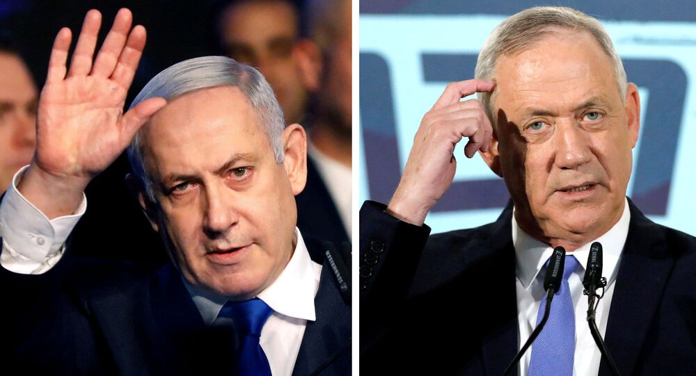 A combination picture shows Israeli Prime Minister Benjamin Netanyahu in Tel Aviv, Israel November 17, 2019, and leader of Blue and White party Benny Gantz in Tel Aviv, Israel November 20, 2019