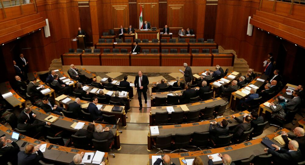 Lebanese members of parliament attend a parliament session in downtown Beirut, Lebanon January 27, 2020