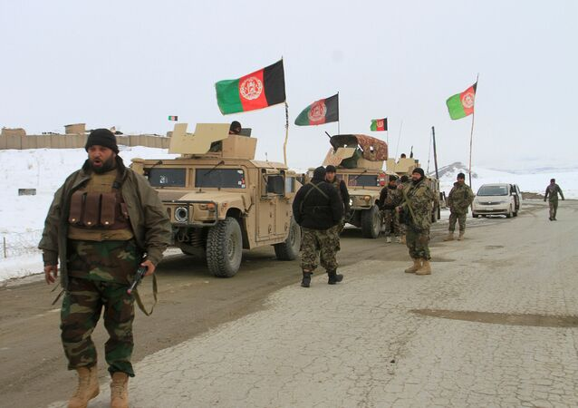 Afghan National Army Forces Go Towards the Site of Airplane Crash in Deh Yak District