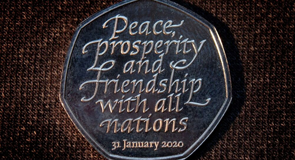 Brexit commemorative 50 pence coin that bears the words Peace, prosperity and friendship with all nations is pictured in an unknown location and uploaded to social media on January 26, 2020