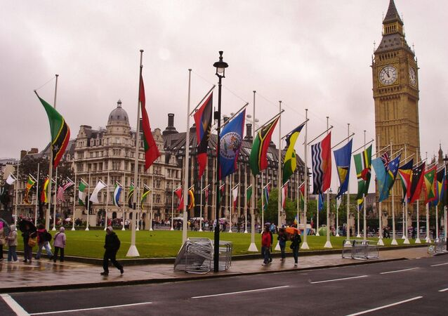Parliament Square bedecked with the flags belonging to The Commonwealth of Nations