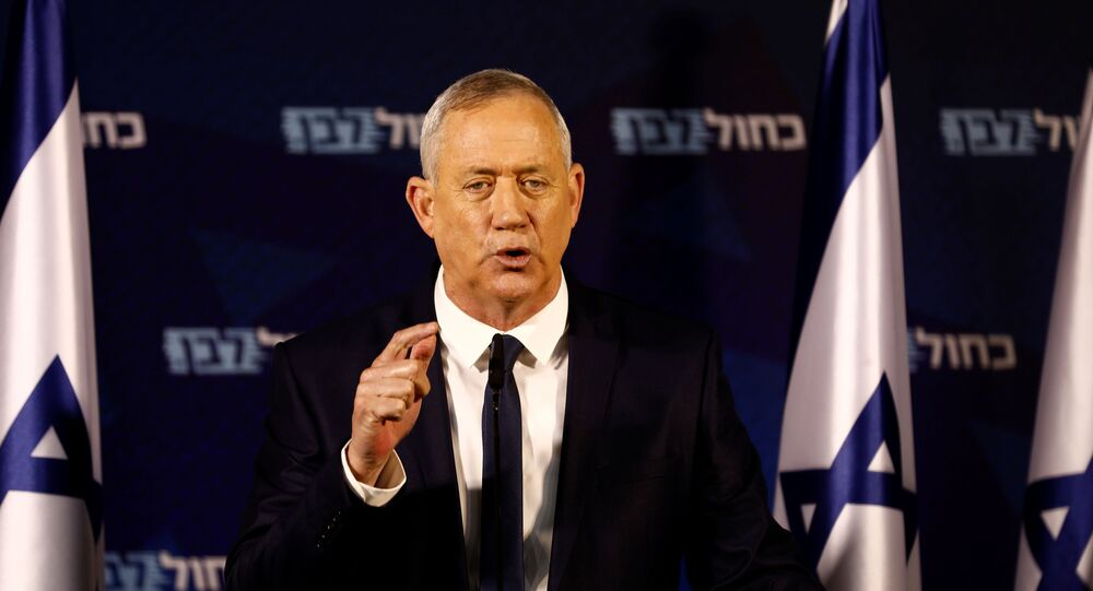 Benny Gantz, leader of Blue and White party, delivers a statement near Tel Aviv