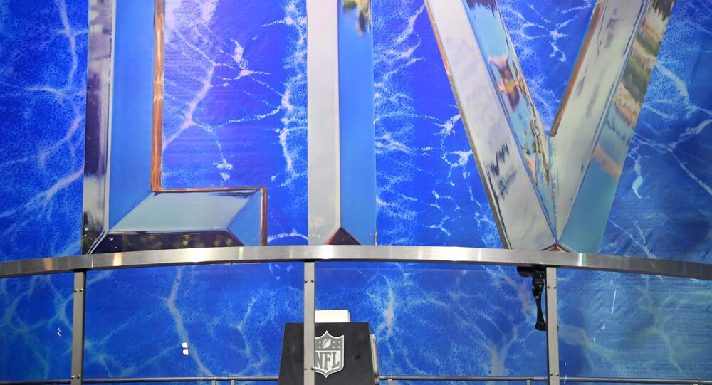 Jan 25, 2020; Miami, Florida, USA; A detail shot of the Super Bowl LIV logo at the Grand Opening of the NFL's Super Bowl Experience at the Miami Beach Convention Center.