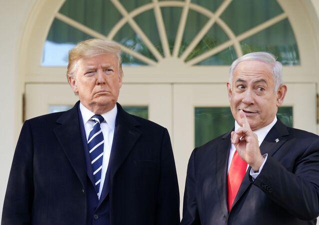 U.S. President Donald Trump listens as he welcomes Israel's Prime Minister Benjamin Netanyahu at the White House in Washington, U.S., January 27, 2020.