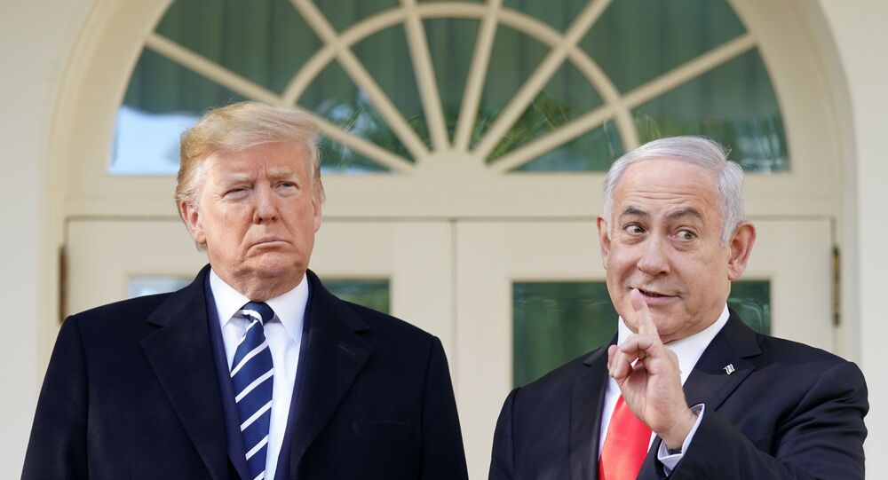 U.S. President Donald Trump listens as he welcomes Israel's Prime Minister Benjamin Netanyahu at the White House in Washington, U.S., January 27, 2020.