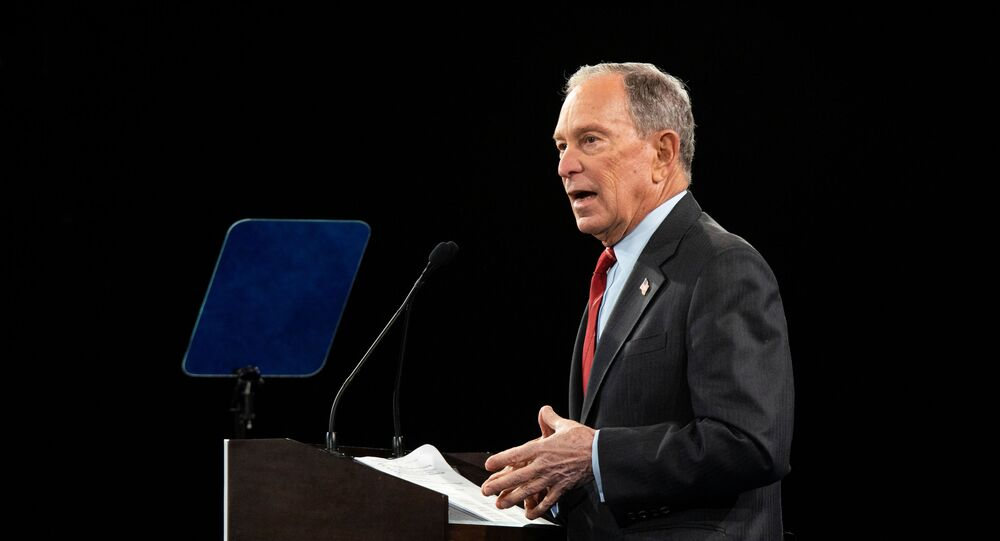 Democratic US presidential candidate Mike Bloomberg delivers a speech during the Women for Mike campaign event in Manhattan, 15 January 2020