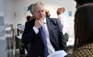 Britain's Prime Minister Boris Johnson reacts as he listens to students solving maths questions during his visit to the Department of Mathematics at King's Maths School, part of King's College London University, in central London, Britain, 27 January 2020