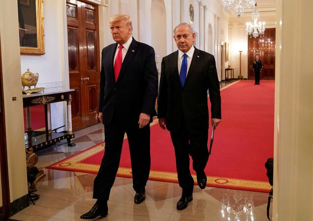 U.S. President Donald Trump and Israel's Prime Minister Benjamin Netanyahu arrive to deliver joint remarks on a Middle East peace plan proposal in the East Room of the White House in Washington, U.S., January 28, 2020.