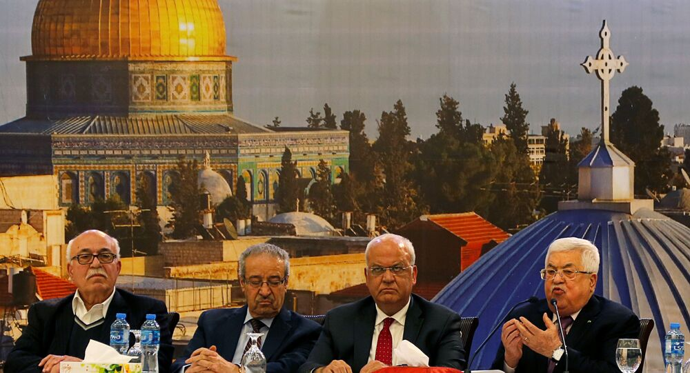 Palestinian President Mahmoud Abbas gestures as he delivers a speech following the announcement by the U.S. President Donald Trump of the Mideast peace plan, in Ramallah in the Israeli-occupied West Bank January 28, 2020.