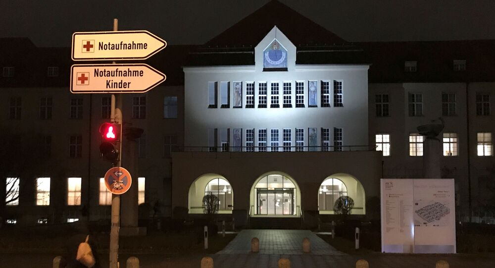 The main entrance, with a sign for the emergency room, of the Klinikum Schwabing is pictured, after Germany has declared its first confirmed case of the deadly coronavirus