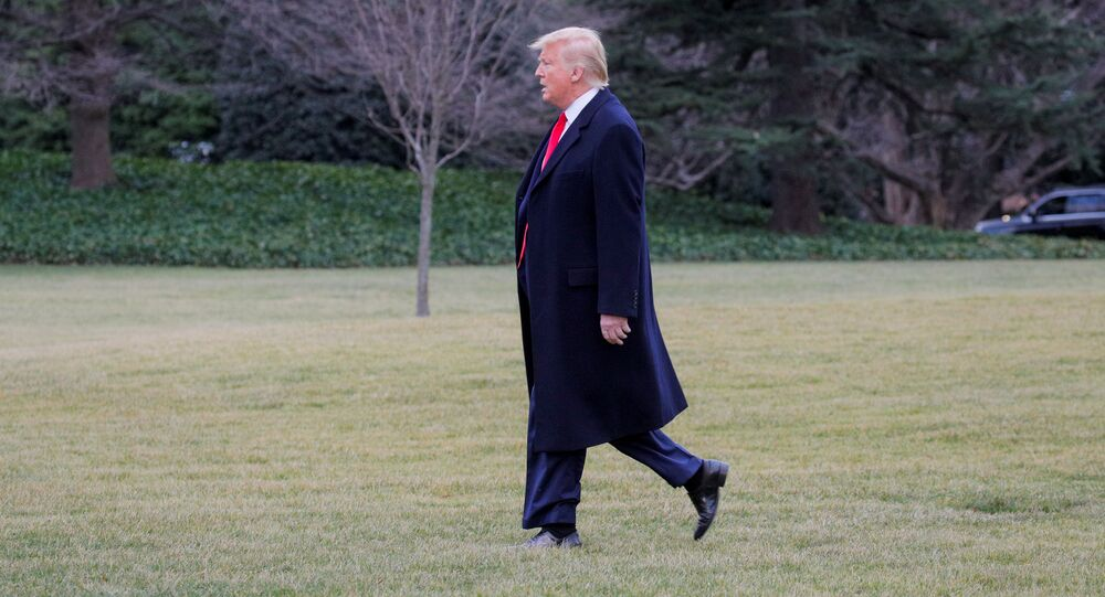 U.S. President Donald Trump Walks to a waiting Marine One helicopter as he departs for travel to New Jersey from the South Lawn of the White House in Washington, U.S. January 28, 2020.