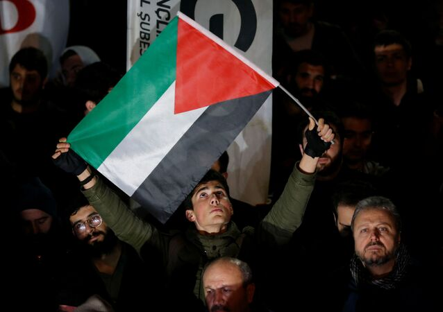 Protesters gather to protest against US President Donald Trump's proposed Middle East peace plan, near the US Consulate in Istanbul, Turkey, 29 January 2020.