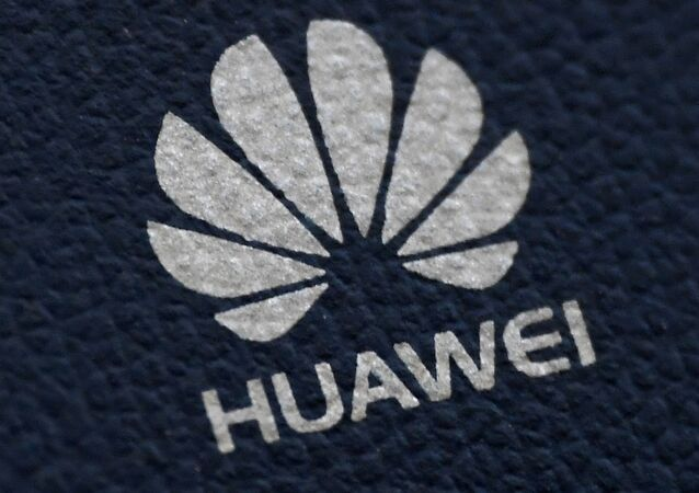 The Huawei logo is seen on a communications device in London, 28 January 2020