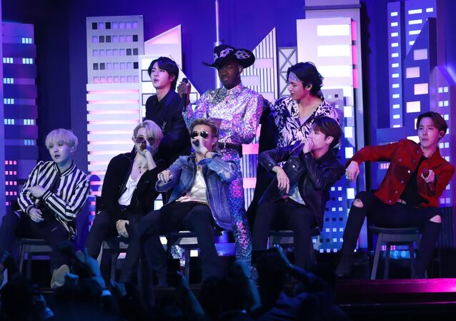 62nd Grammy Awards - Show - Los Angeles, California, U.S., January 26, 2020 - Lil' Nas X performs with BTS