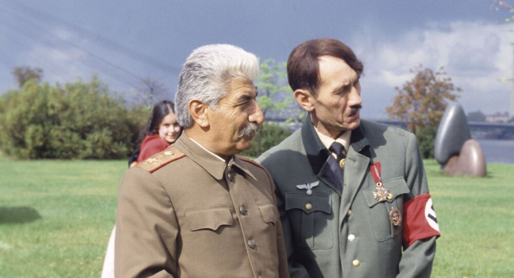 Actors playing Joseph Stalin and Adolf Hitler on a television show. File photo.