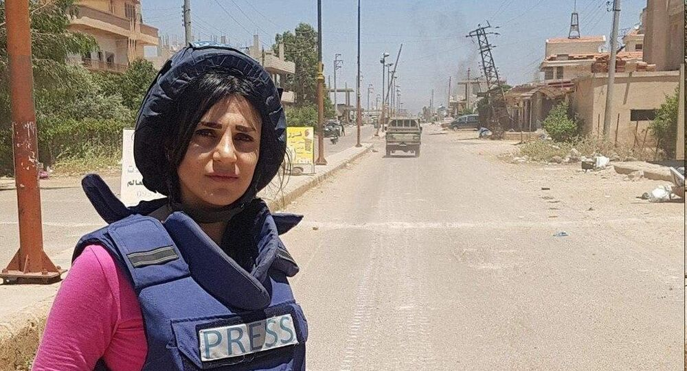 RT correspondent in Syria, Wafa Shabruni, was seriously injured in the province of Idlib , during the withdrawal of the mercenaries from the city of Maarrat al-Nuuman