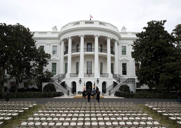 Workers prepare the South Lawn for a ceremony for U.S. President Donald Trump to sign the United States-Mexico-Canada Agreement (USMCA) trade deal at the White House in Washington, U.S. January 29, 2020.