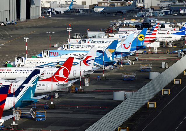 An aerial photo shows several Boeing 737 MAX airplanes grounded at Boeing Field in Seattle, Washington, U.S. March 21, 2019
