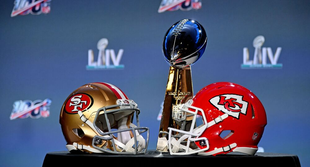 Jan 29, 2020; Miami, Florida, USA;A general view of the helmets of the San Francisco 49ers and Kansas City Chiefs and the Vince Lombardi Trophy on display prior to NFL commissioner Roger Goodell speaking with he media in Miami Florida at the Hilton Downtown.