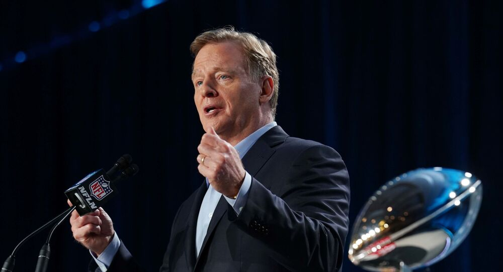 Jan 29, 2020; Miami, Florida, USA; NFL commissioner Roger Goodell during a press conference before Super Bowl LIV at Hilton Downtown.