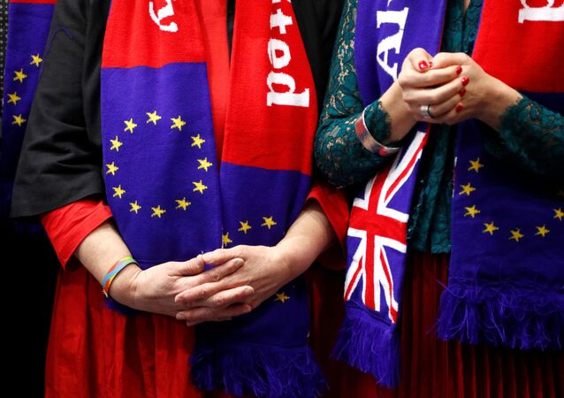 Members of the EU Parliament of the political group Socialists & Democrats (S&D) attend a ceremony on Brexit Withdrawal Agreement in Brussels, Belgium January 29, 2020.