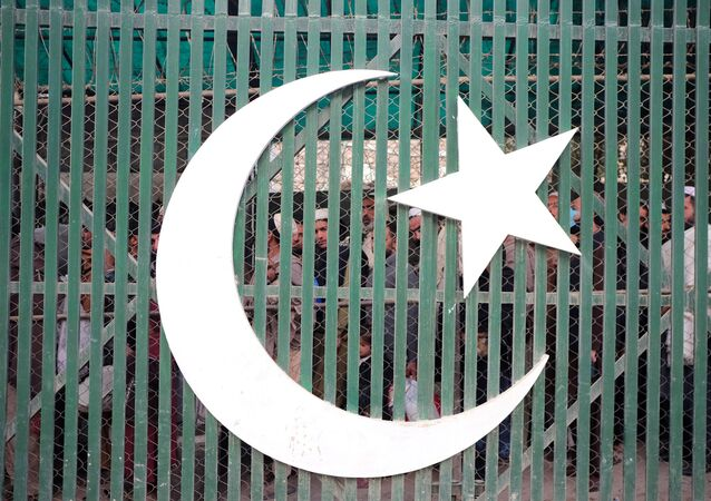 People are seen behind a gate depicting Pakistan's national flag in a queue to cross into Afghanistan at the border post in Torkham, Pakistan, 3 December 2019.