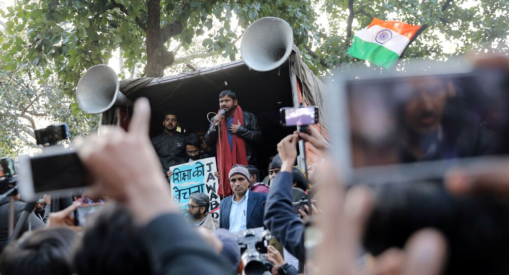 India's left-wing youth leader Kanhaiya Kumar addresses people during a protest against the attacks on the students of Jawaharlal Nehru University (JNU), in New Delhi, India, January 9, 2020