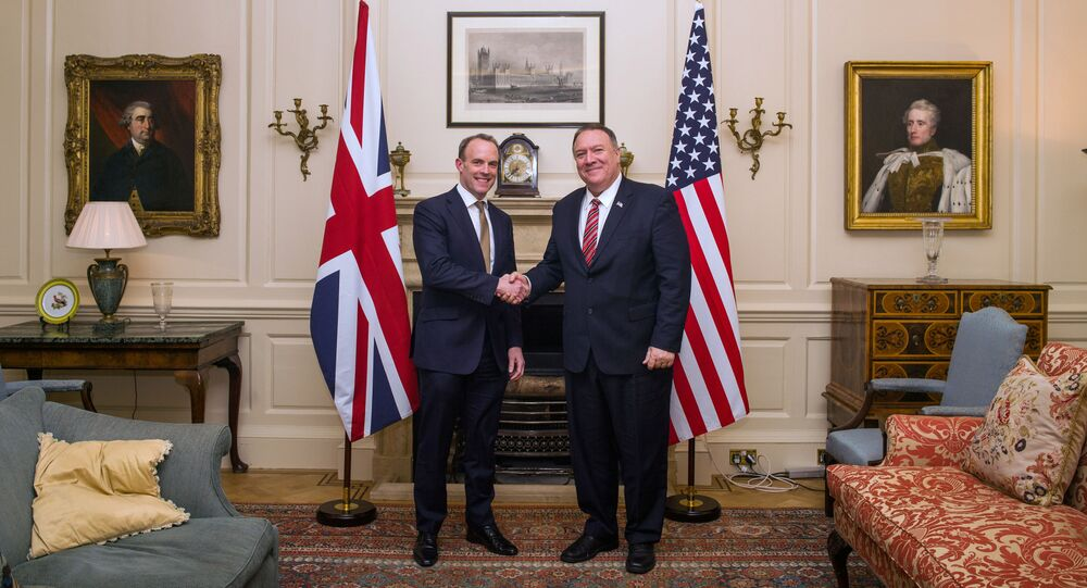 Britain's Foreign Secretary Dominic Raab shakes hands with U.S. Secretary of State Mike Pompeo at the Foreign Secretary's Residence in London, Britain January 29, 2020