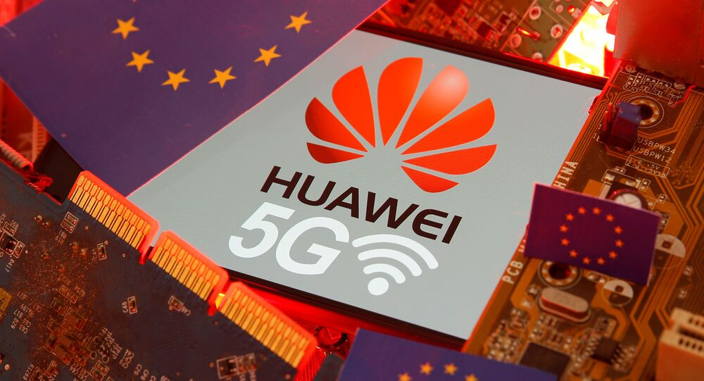 The EU flag and a smartphone with the Huawei and 5G network logo