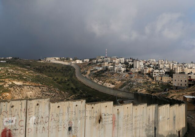 A general view picture shows the Israeli barrier running along the Palestinian town of Abu Dis in the Israeli-occupied West Bank, east of Jerusalem January 29, 2020