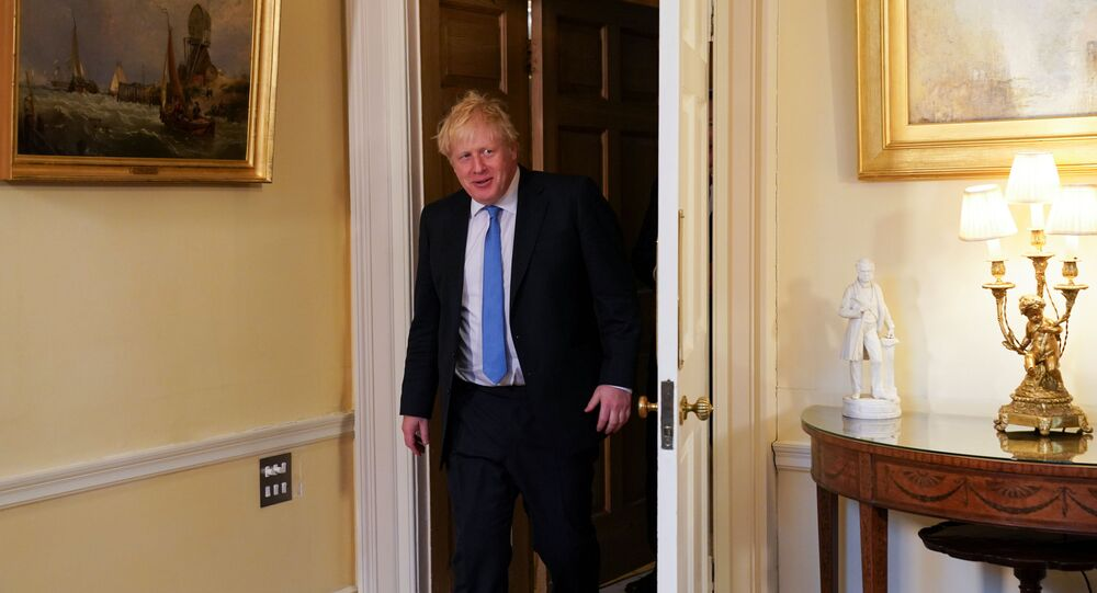 Britain's Prime Minister Boris Johnson meets with U.S. Secretary of State Mike Pompeo (not pictured) at Downing Street in London, 30 January 2020