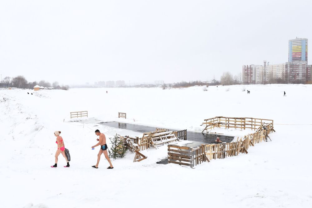 Members of a cold-water swimming club in Russia's Novosibirsk