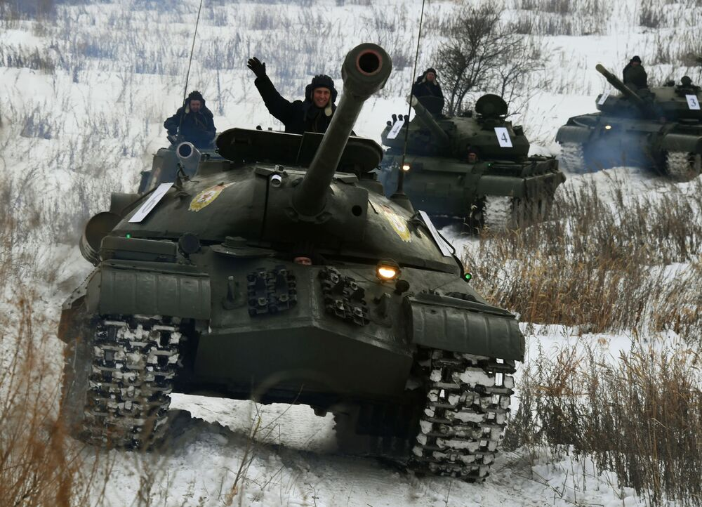 An IS-3 Soviet-era tank during a demonstration event in Russia's Primorsky region.