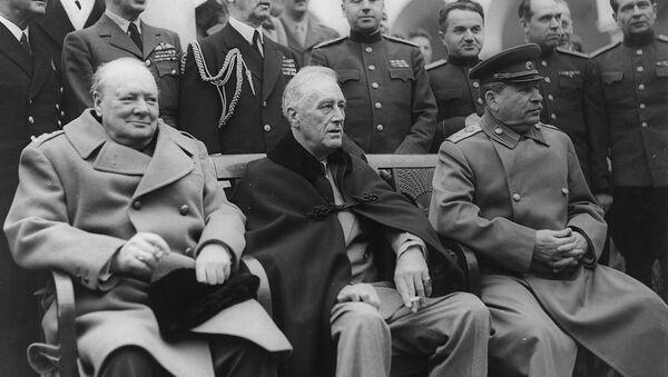 Yalta Conference, February 1945.  Seated are: Winston Churchill, Franklin D. Roosevelt and Josef Stalin - Sputnik International