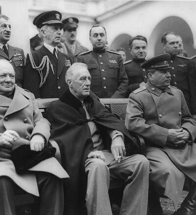 Yalta Conference, February 1945.  Seated are: Winston Churchill, Franklin D. Roosevelt and Josef Stalin