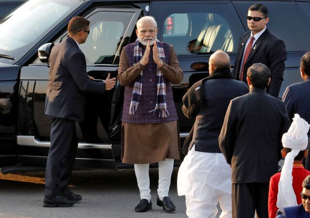 India's Prime Minister Narendra Modi arrives to attend the Beating the Retreat ceremony in New Delhi, India, January 29, 2020.
