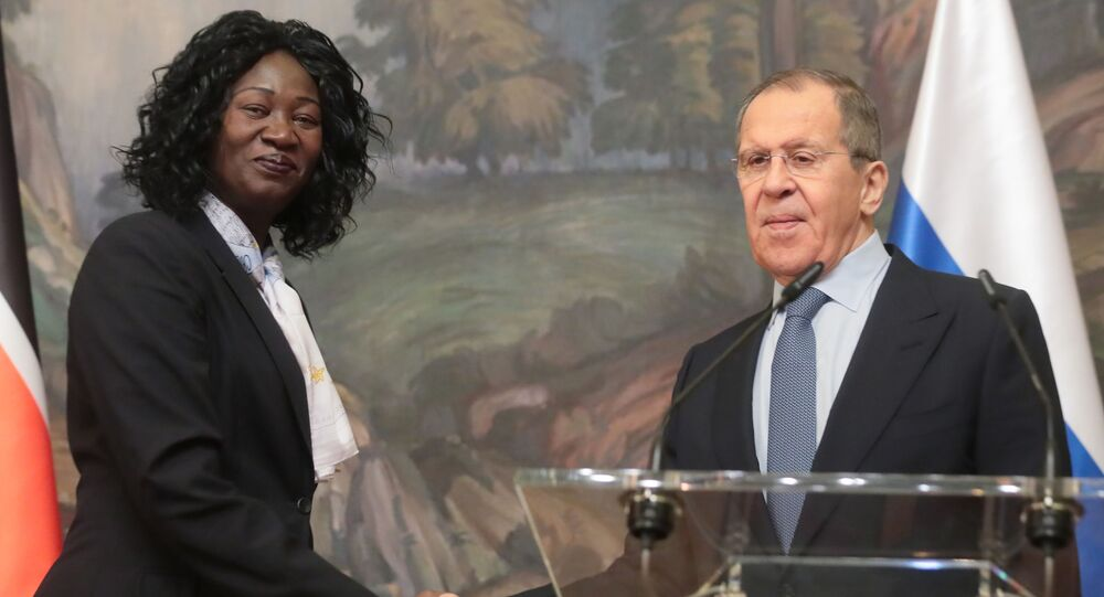 South Sudan's Foreing Minister Avut Deng Achuil and Russian foreign Minister Sergey Lavrov shake hands after a news conference following their meeting, in Moscow, Russia.