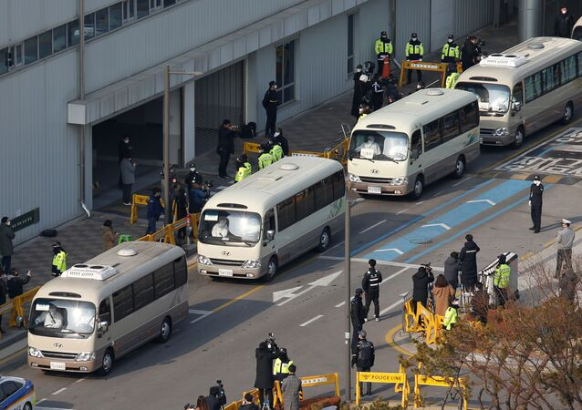Buses transporting South Koreans evacuees from Wuhan, the epicenter of a virus outbreak in China, leave after arriving at Gimpo International Airport in Gimpo, South Korea, January 31, 2020
