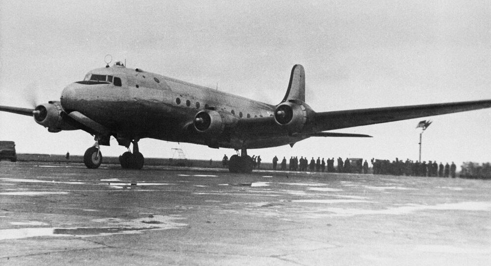 The Crimean Peninsula. An aircraft carrying top officials and technical personnel for the February 4-11, 1945 Big Three Conference in Yalta at Simferopol airfield in February 1945