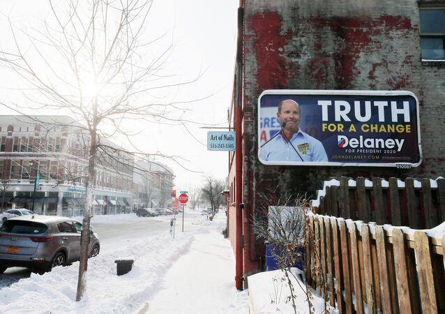 A billboard for Democratic 2020 U.S. presidential candidate and former U.S. Rep. John Delaney hangs in Des Moines, Iowa, U.S., January 18, 2020