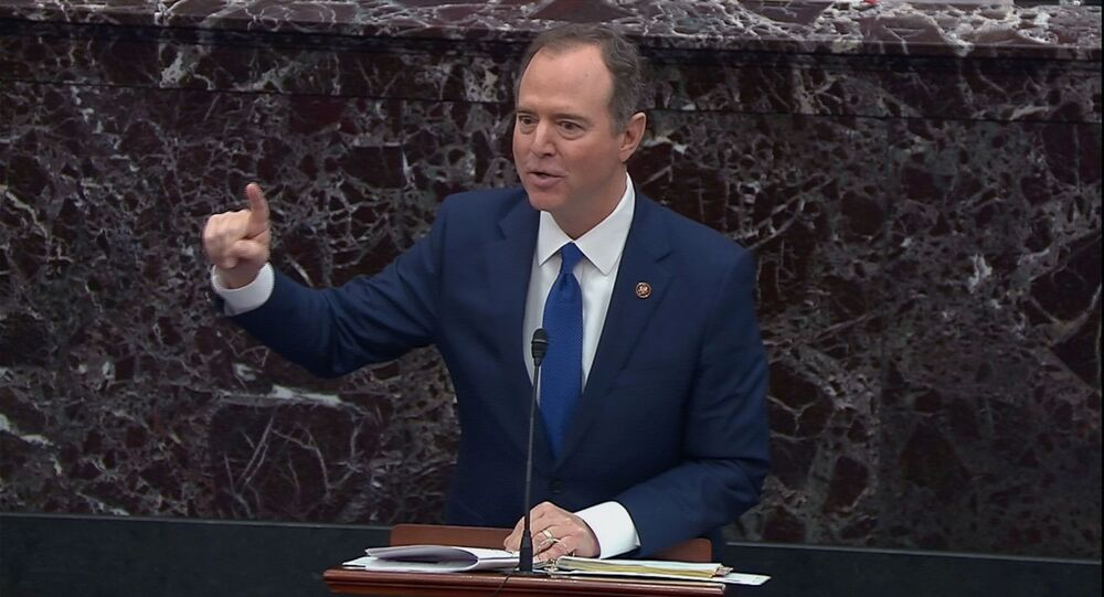 Lead manager House Intelligence Committee Chairman Adam Schiff (D-CA) addresses a question from senators during the impeachment trial of U.S. President Donald Trump in this frame grab from video shot in the U.S. Senate Chamber at the U.S. Capitol in Washington, U.S., January 29, 2020