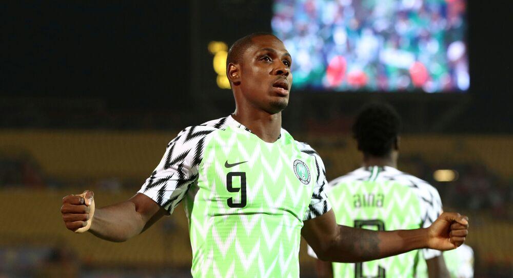 Nigeria's Odion Ighalo celebrates scoring their first goal