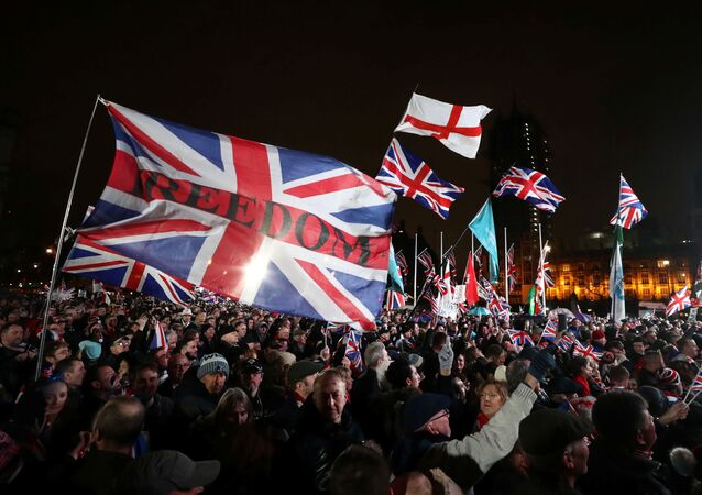 Pro-Brexit demonstrators celebrate on Parliament Square on Brexit day in London, Britain January 31, 2020.