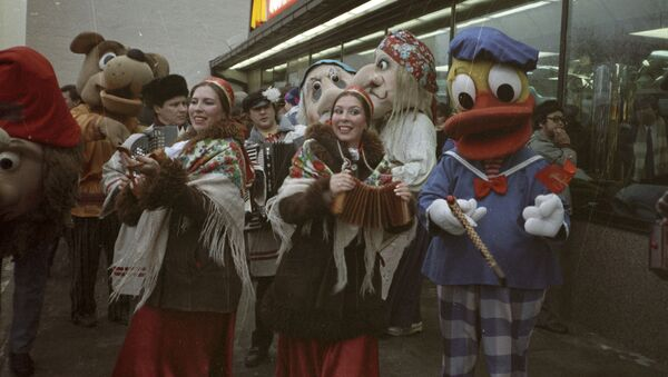 The opening ceremony of the first in the USSR McDonald's - Sputnik International