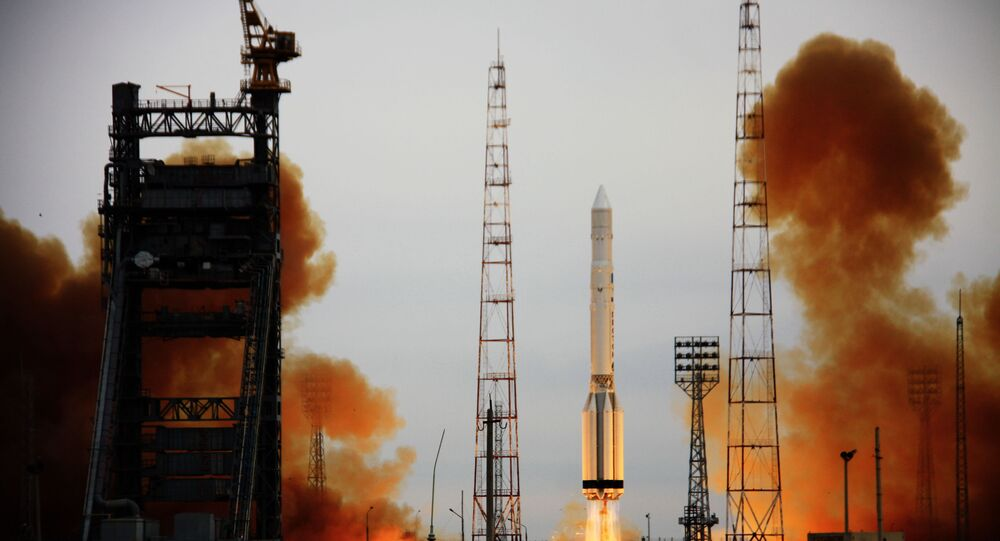 The Proton-K missile with the Russian military satellite Cosmos launched from the Baikonur Cosmodrome