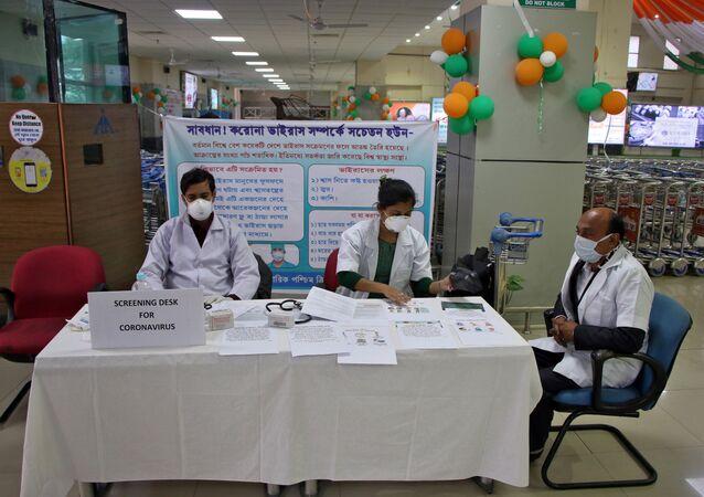 A health desk is set up to screen travelers for signs of the coronavirus at Maharaja Bir Bikram Airport in Agartala, India, January 31, 2020.
