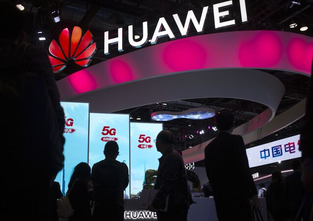 Chinese technology firm Huawei at the PT Expo in Beijing