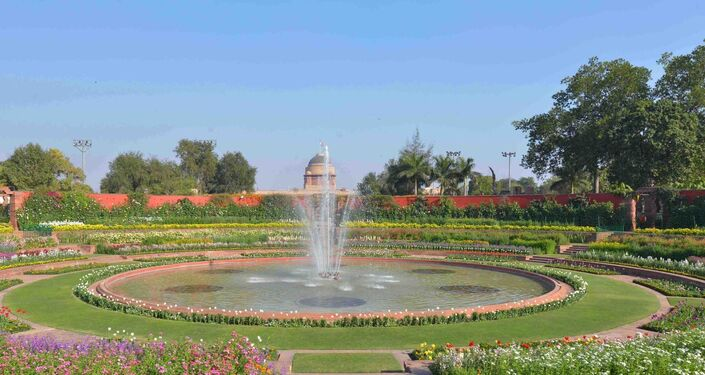 Mughal Garden at the Rashtrapati Bhavan (Presidential Palace) in New Delhi, India