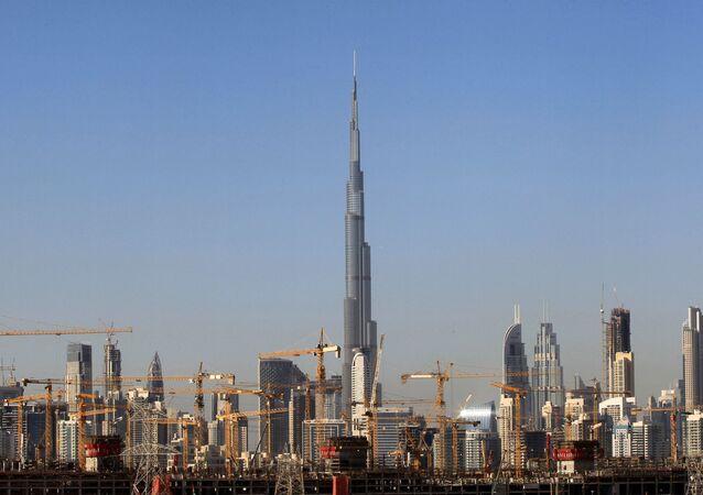 General view of Dubai's cranes at a construction site in Dubai, UAE