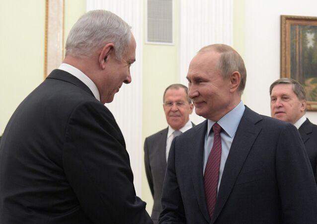 Russian President Vladimir Putin meets Israeli Prime Minister Benjamin Netanyahu in Moscow on 30 January 2020